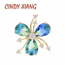 CINDY XIANG Rainbow Cubic Zirconia Flower Collar Brooches Unisex Womenand Men Pin Suit Coat Brooch Copper Jewelry Kids