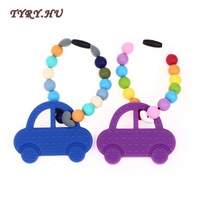 TYRY HU 2Pcs Lot Silicone Teething Toys Collares BPA Free Baby Teether Necklace Cartoon Car Shaped