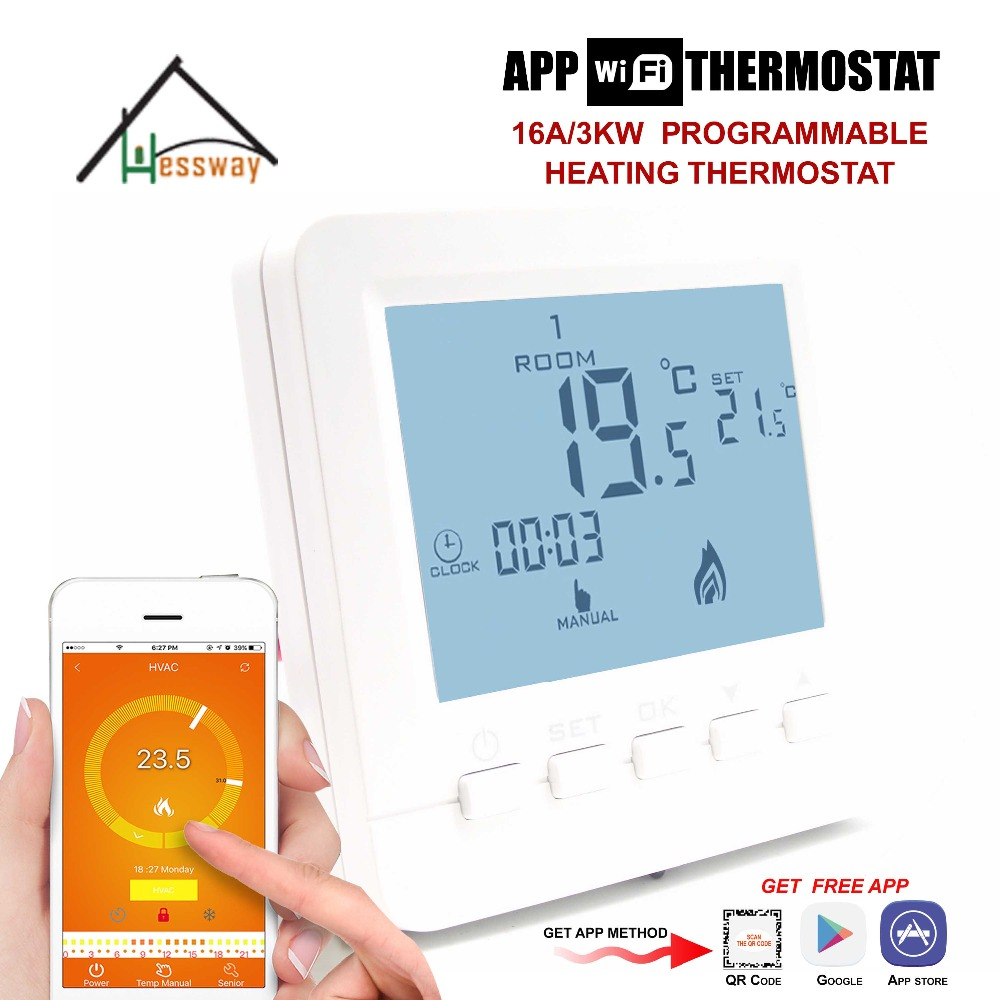 Programmable Thermostat Heating WiFi 16A 110V-240V for App Temp Temperature Control Underfloor valve radiator linkage controller weekly programmable room thermostat wifi app for gas boiler underfloor heating