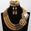 Luxo de Ouro Champagne Noiva Do Casamento Nigeriano Beads Africanos Conjunto de Jóias Dubai Indiano Conjunto De Jóias de Noiva Rainha Frete grátis HX601D