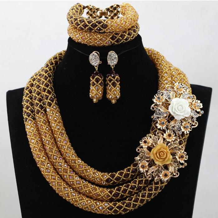 Luxury Champagne Gold Nigerian Wedding Bride African Beads Jewelry Set Dubai Indian Bridal Jewelry Set Queen Free shipping HX601