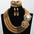 Luxury Champagne Gold Nigerian Wedding Bride African Beads Jewelry Set Dubai Indian Bridal Jewelry Set Queen Free shipping HX601