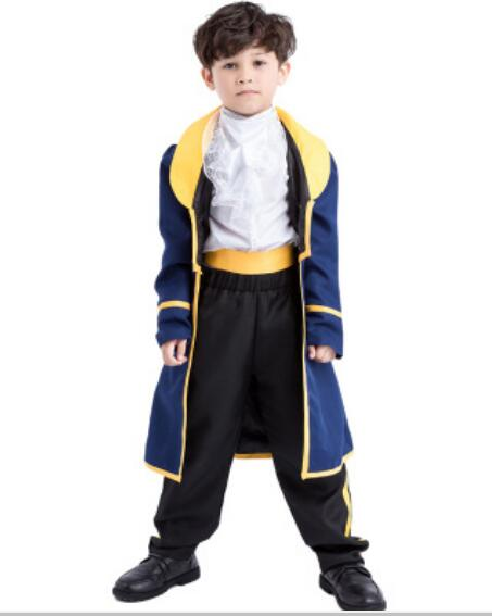 Free Shipping Kid Prince Beast Costume Beauty and the Beast Costume Cosplay Halloween Costumes Children Boy Prince Uniform