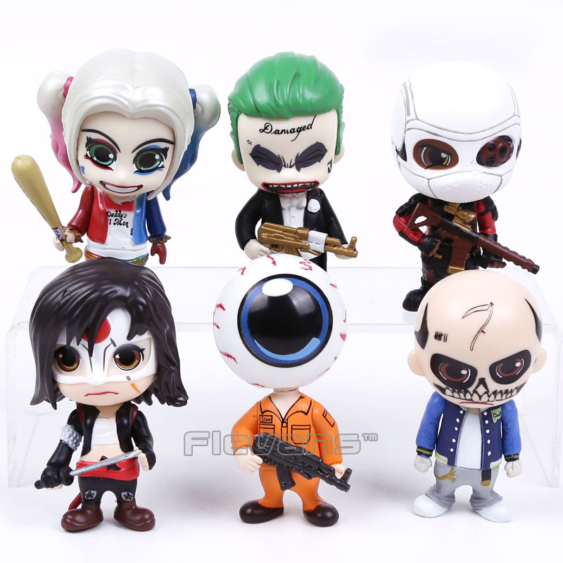 Suicide Squad Joker Harley Quinn Deadshot Katana Eyeball Man PVC Action Figures Collectible Model Toys 6-pack Boxed ynynoo crazy toys joker suicide squad x dutch act team harleen quinzel harley quinn batman deadshot pvc action figure model 30cm