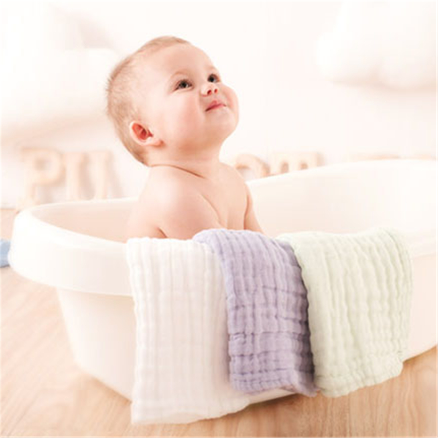 Cute Cotton Newborn Baby Towels Handkerchief Muslin Baby Washcloth Gauze White 1 Pcs Newborn Towel Bath Square Solid 50A0008 6 layers muslin cotton baby blankets swaddles newborn wrap gauze crown children blankets infant bath towel size 150 200cm