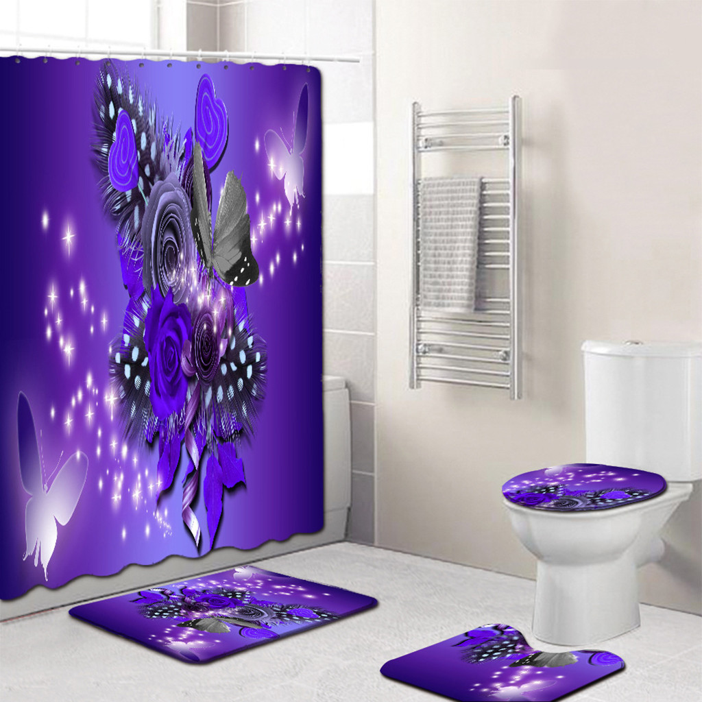 Butterfly Bathroom Curtain Set Made With PVC Material For Bathroom And Toilet Use