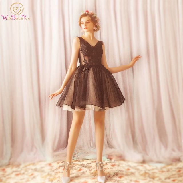 910be1ad5f26f US $56.9 |Walk Beside You Black Cocktail Dress Party Lace Short Mini Cut  Out V neck Sleeveless Ball Gown vestido de festa corto coctel -in Cocktail  ...