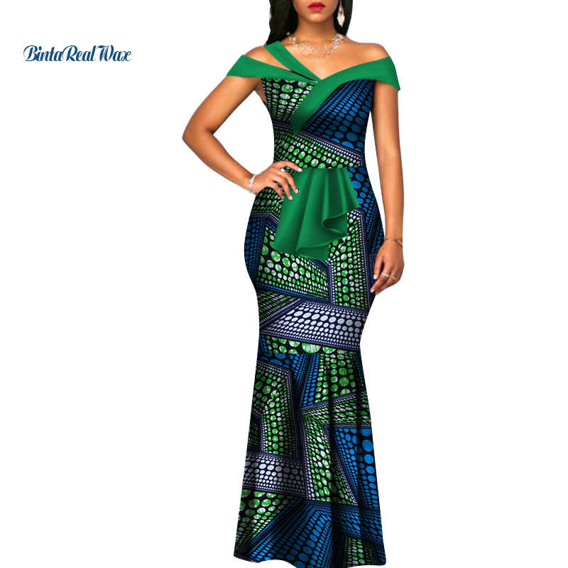 African Wax Print Dresses for Women Bazin Riche Summer Long Mermaid Dress  Traditional African Clothing Vestidos 33bc77d3f06f