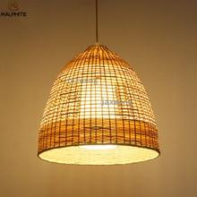 Wooden Bird Cage Pendant Lights Hand Knitting Grass Rattan Pendant Lamps Living Room Dining Room Kitchen Lamp Hanging Fixtures недорого