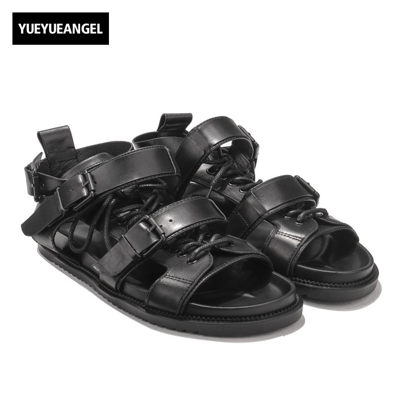 Italian New Designer Men High Top Buckle Straps Gladiator Shoes Harajuku Lace Up Open Toes Genuine Leather Casual Beach Sandals