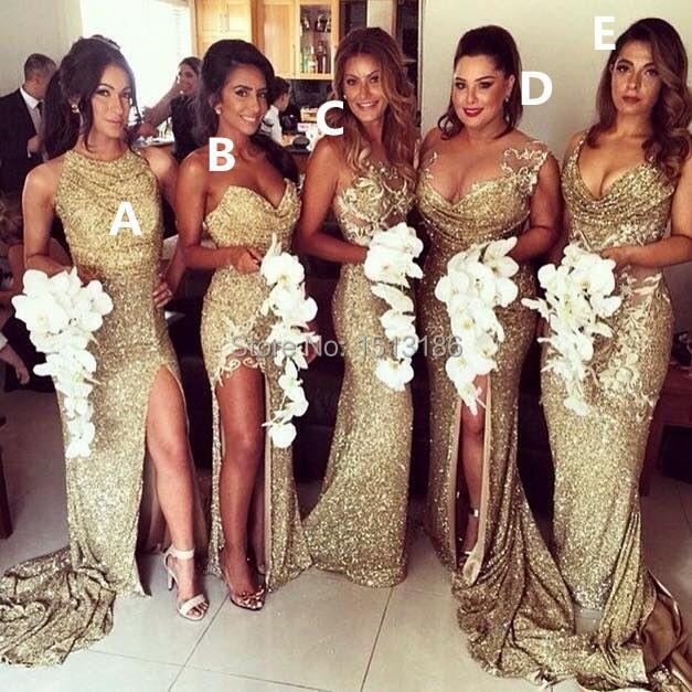 Bridesmaid Dresses Gold Sequined Split Mermaid Maid honor Gowns Sparkly Different Style Long Dress R098 - bridal_gown-2 store