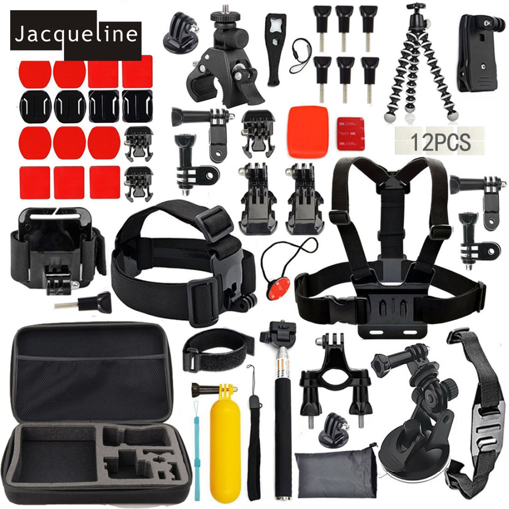 Jacqueline for Accessories Pack Case Strap Mount Kit for Gopro HERO 6 5 3+ 4 Session for SJCAM for Eken H9R Action camera