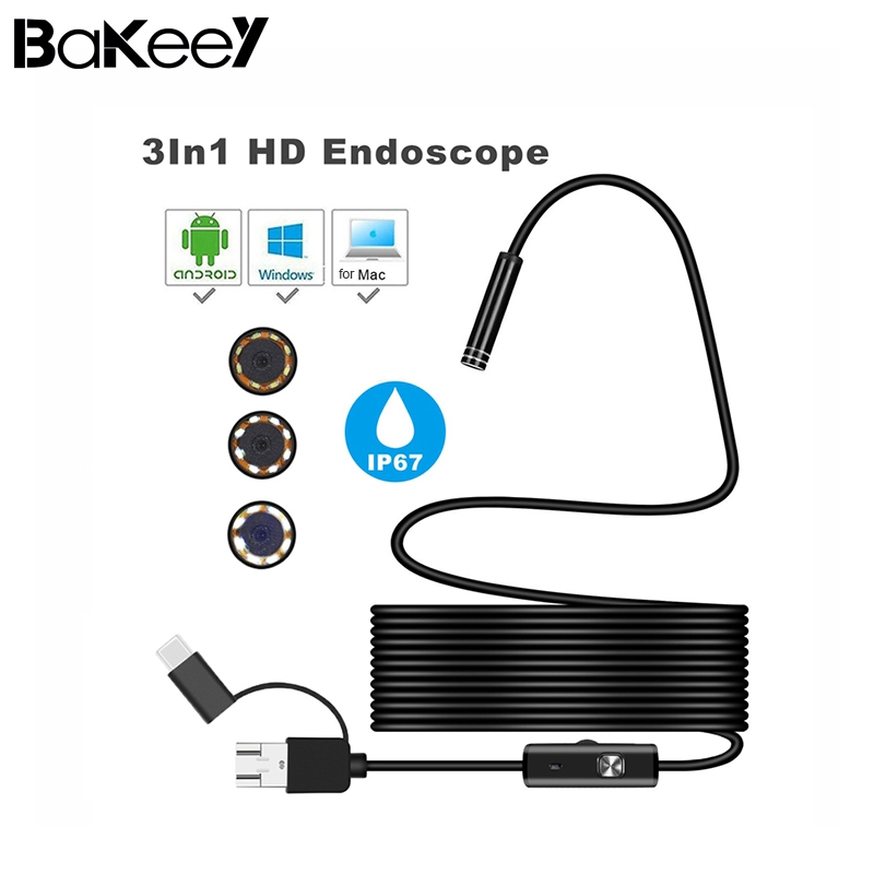 Bakeey 3 in 1 Type C 7mm 6Led Micro USB Endoscope Inspection Camera Soft Cable for Android PC for Huawei for Phones USB Type C
