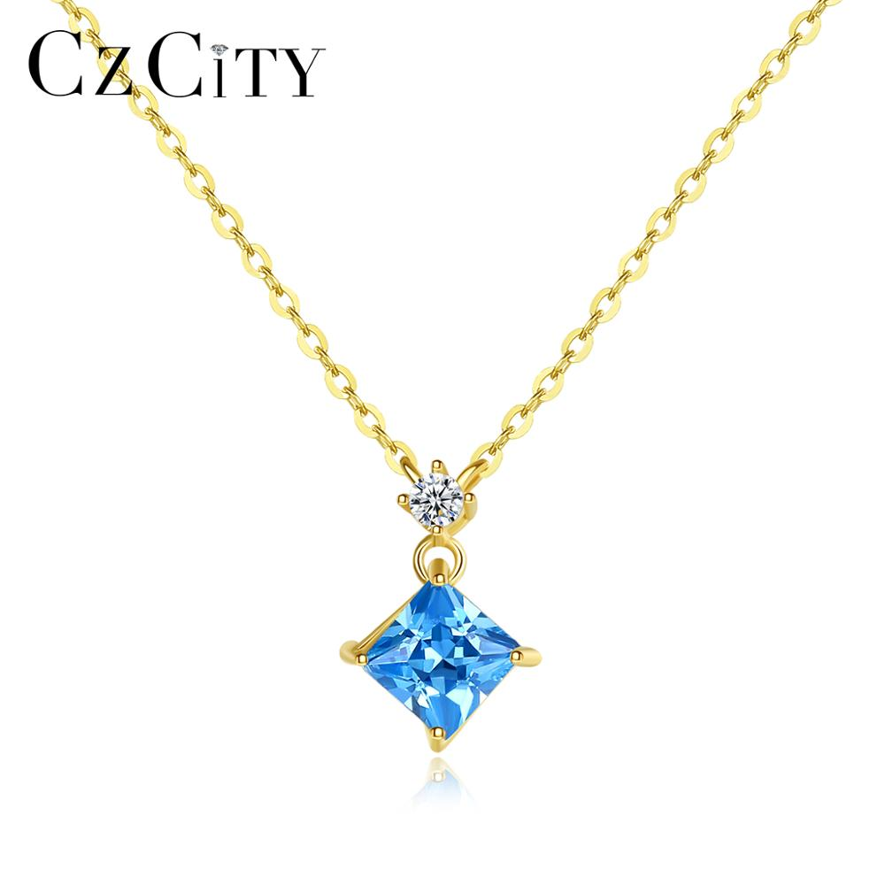CZCITY Authentic 14k Gold Sapphire Pendant Necklaces for Women AAA CZ Yellow Gold Luxury Fine Jewelry Gift Au 585 Colar N14072