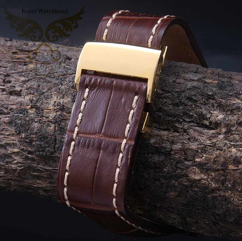 22mm 24mm Brown Handmade Genuine Alligator Patterb Genuine Leather Watch Strap Band With Gold Depolyment Clasp Buckle a017 luxury alligator genuine leather strap 22 18mm 100% handmade watch strap
