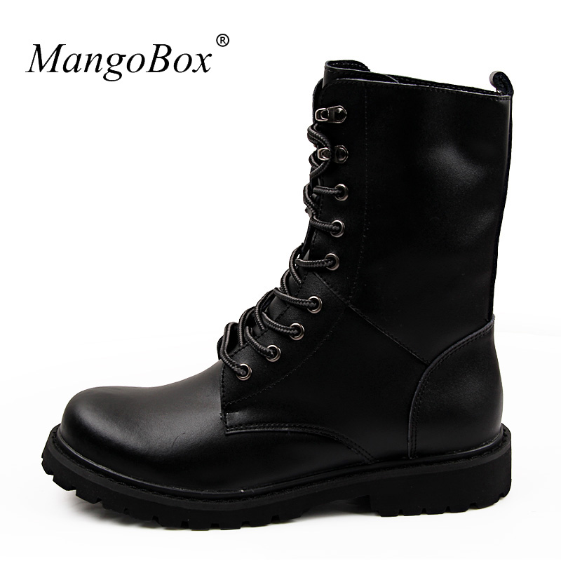 2017 Hot Sale Winter Boots Men Leather Mens Long Boot Black Large Size 37-48 Mens Shoes Designer Fashion Military Combat Boots rwby letter hot sale wool beanie female winter hat men