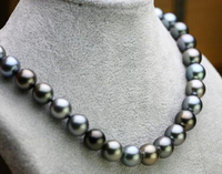 Jew2413 stunning11 12mm tahitian peacock green multicolor pearl necklace 18inch (A0322)