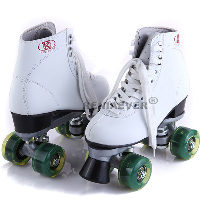 Roller Skates White With Green Led Lighting Wheels Double Line Skates Adult 4 Wheels Two line Roller Skating Shoes Patines футболка cube sugar t vip
