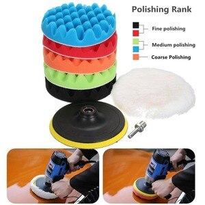 Image 5 - Kit de tampons de polissage pour voiture, 4/5/6/7 pouces (5 tampons de polissage + 1 tampon en laine + 1 tampon de support adhésif)