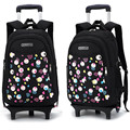 High quality waterpoof Girls Cartoon 2/6 wheels Trolley SchoolBag removable Children Fold Backpack Kids Luggage book school bag