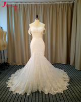 Jark Tozr Newest Strapless Appliques Beading Pleat Bodice Flower Waist Skirt Tiered Honorable White Mermaid Wedding