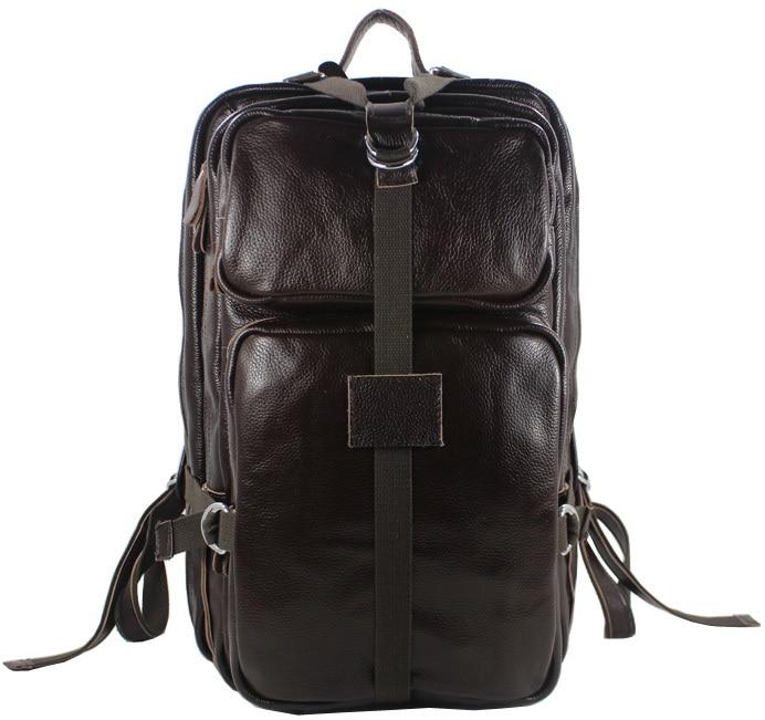 New 2016 Fashion Mens Backpack Genuine Leather Backpack Men School Backpack Bag Rucksack Travel Backpack Black Brown Luggage & Bags