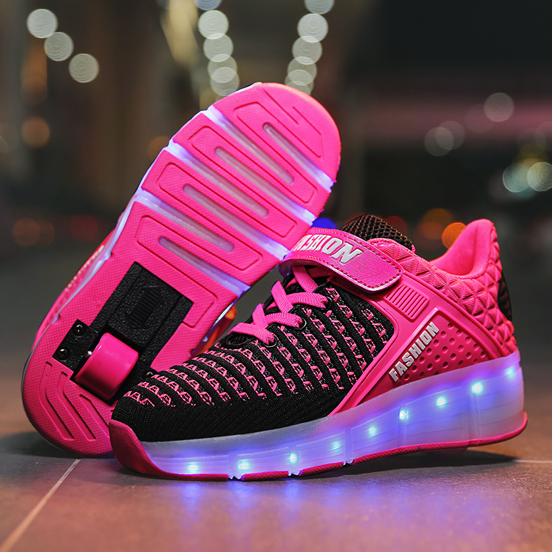 Red Pink Blue USB Charging Fashion Girls Boys LED Light Roller Skate Shoes For Children Kids Sneakers With Wheels One Wheels