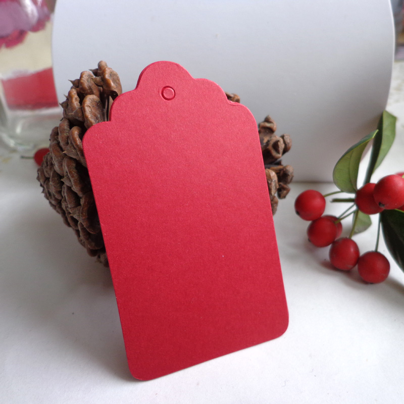50pcs Red DIY Paper Gift Tag Party Wedding Message Gift Hang Tag, Craft Cards Scalloped Paper Label Cards Hemp String Included