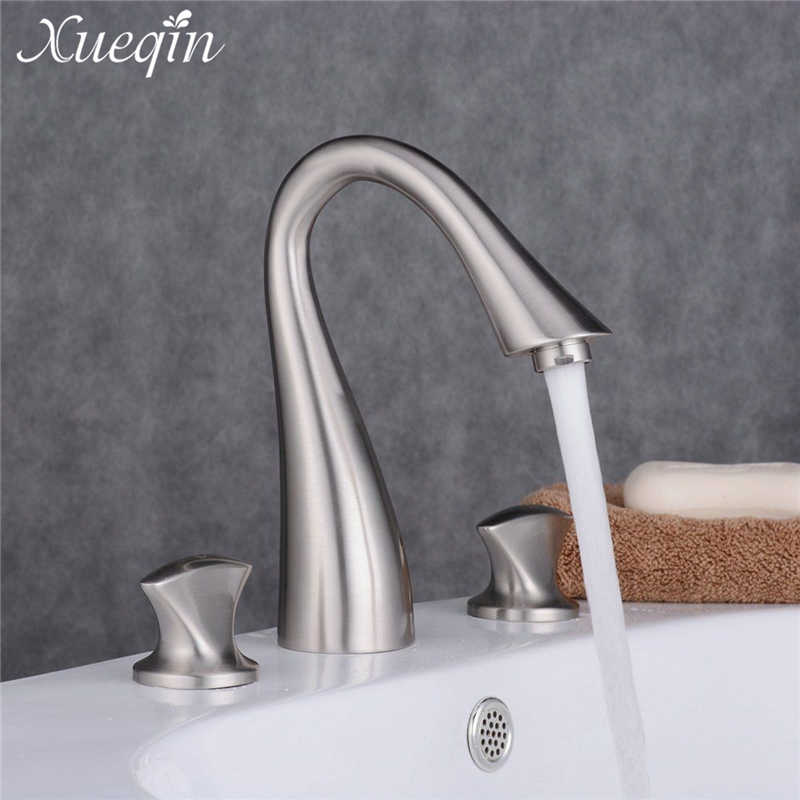 Bathroom Double Handle Solid Brass Waterfall Basin Faucet Waterfall Mixer Tap Deck Mounted Hot And Cold Water Taps Brush Nickel led waterfall bathroom basin faucet deck mounted washbasin bathroom tap 5 pcs set flush cold and hot water mixer taps