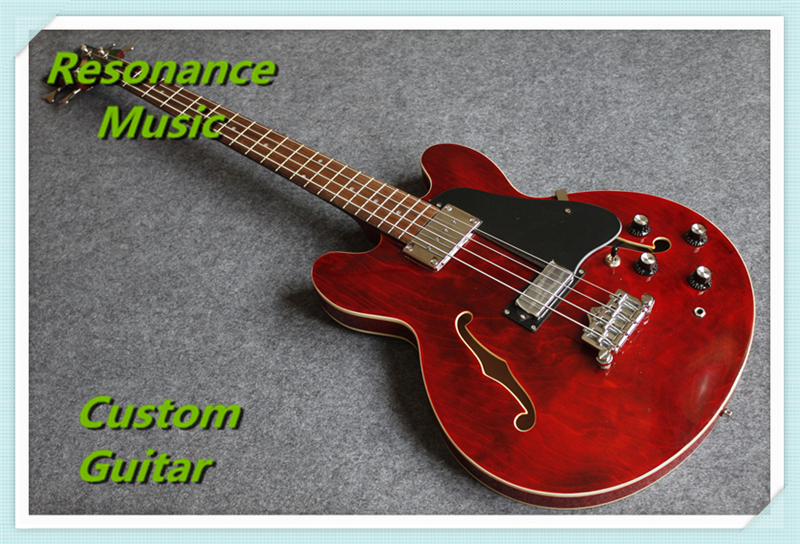 Chinese Music Instrument ES Jazz Hollow Guitar Electric Bass Guitarra 4 Strings Archtop Maple Body In Stock free shipping semi hollow body aaaaa quilted maple top gold hardware jazz es 335 345 electric guitar guitarra all color accept