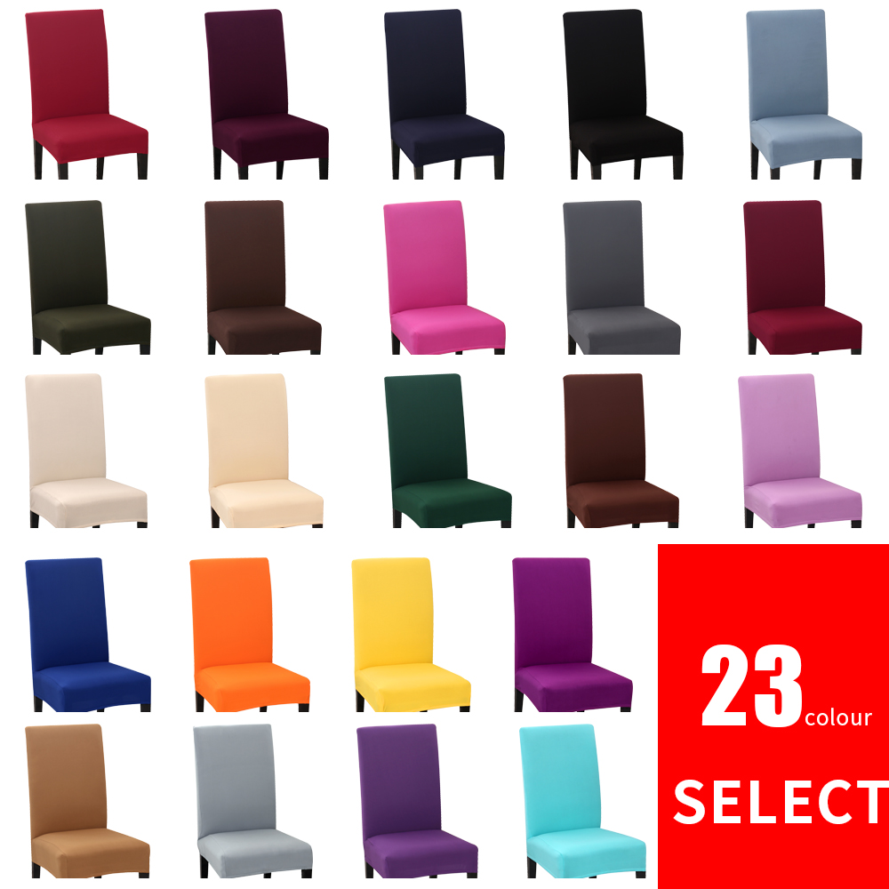 White Dining Room Chair Slipcovers: 1PC Solid Color Chair Cover Spandex Stretch Elastic