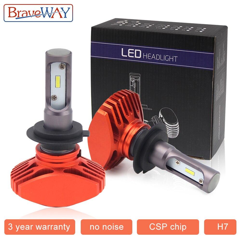 Braveway H7 LED Voiture Lumière H7 9005/HB3 9006 HB4 LED Auto Ampoule Sans Ventilateur CSP 6500 k 12000LM 80 w 12 v H4 H11 LED Auto Lampe Phare