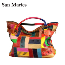 New 2019 Fashion Tote Free Shipping 100% Genuine Natural Leather Patchwork Handbags Women Messenger Bag Purse Colorful