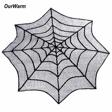 OurWarm Halloween Tablecloth Spider Web Round Heritage Lace Table Topper Fireplace Mantel Scarf Halloween Table Decoration ourwarm 1pc halloween table cloth party table decoration spider web lace design rectangle tablecloth with ghost party decoration
