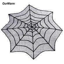 OurWarm, mantel de Halloween, tela de araña, mesa de encaje de herencia redonda, Topper, chimenea, pañuelo para marco de chimenea, Decoración de mesa de Halloween