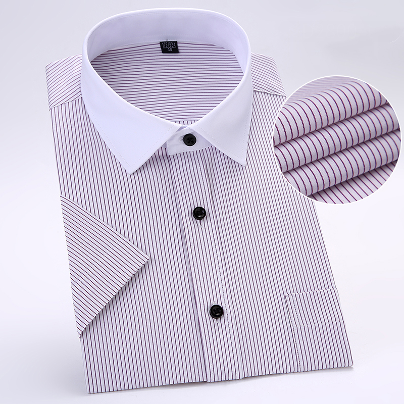 S To 8xl Fashion Summer Large Men Striped Dress Shirt  Patchwork White Collar Short Sleeve Slim Fit Non-iron Social Shirts