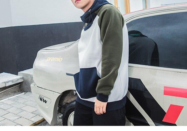 Invierno Con Azul Blanco Fleece Capucha Casual Primavera Hoodie Hip Patchwork Coreano 2018 Harajuku blanco Pullover Sudadera Streetwear Negro Hop HpZOt