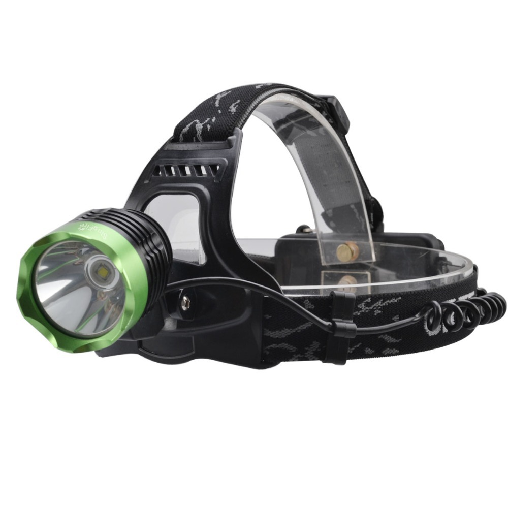 2017 New Headlight SingFire SF-522B Cree XM-L T61000lm 3-Mode Cool White Headlamp - Black + Green (2 x 18650 Battery) singfire sf 544 4 mode 2500lm white led bicycle light w cree xm l t6 black 4 x 18650