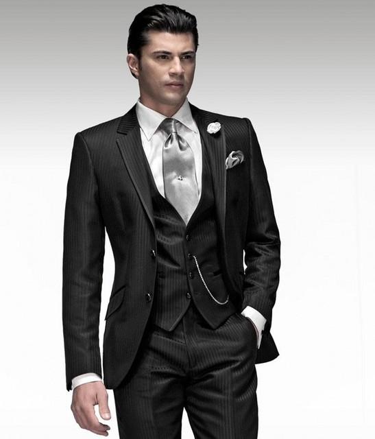 Más nuevo padrinos de Notch solapa del novio esmoquin brillante raya negro hombres trajes casar al mejor hombre Blazer ( Jacket + Pants + Tie + Vest ) B964