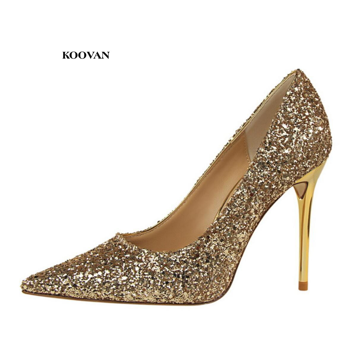 Koovan Womens Pumps 2018 Fashion Style Shoes High-heeled Pointed Shine Sequin Sexy Nightclubs Bling Wedding Shoes for Women