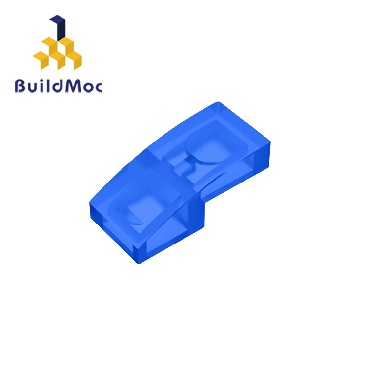 Buildmoc compatível monta partículas 11477 inclinação curvada 2 x 1for blocos de construção peças diy logotipo educacional tecnologia peças brinquedos