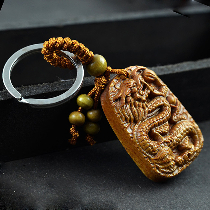 Rosewood carving dragon keychain key ring pendants women for How to carve a wooden ring