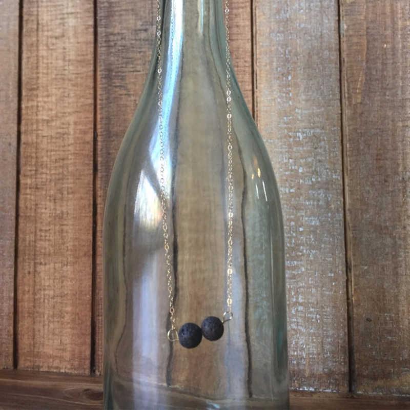 1ชิ้น)ธรรมชาติ2 Balckลาวาหินสร้อยคอกระจายน้ำมันหอมระเหยน้ำมันหอมระเหยเครื่องประดับเรียบง่ายที่ทำด้วยมือสร้อยคอกระจาย