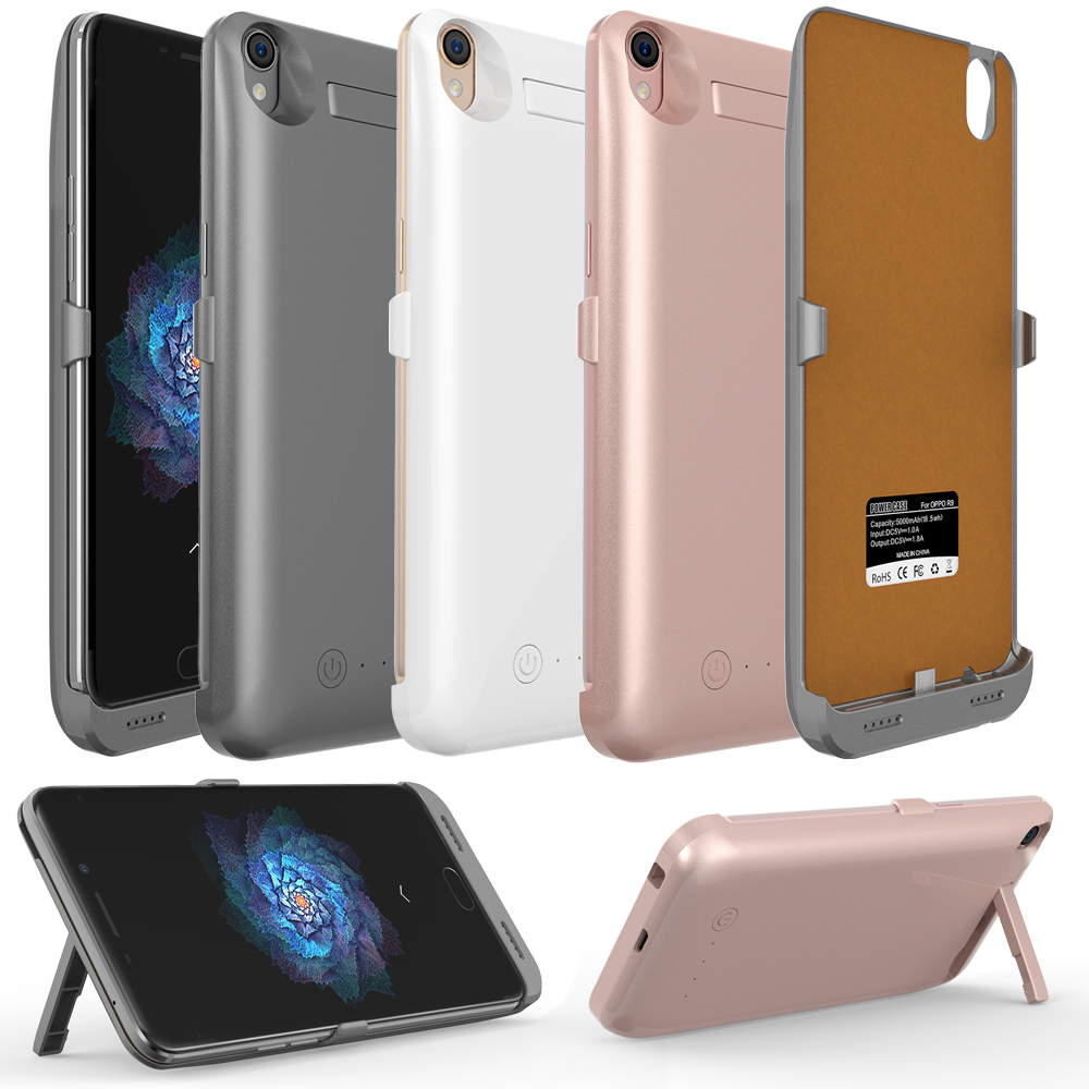 5000mAh External Back Power Bank Battery Portable Charger Charging Adapter Case Cover for OPPO R9 R9Plus With USB Cable