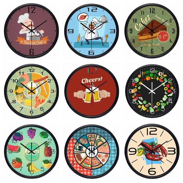 10 pouces 25 cm cuisine horloge restaurant silencieux d corer alimentaire horloge murale chef for Horloges murales cuisine