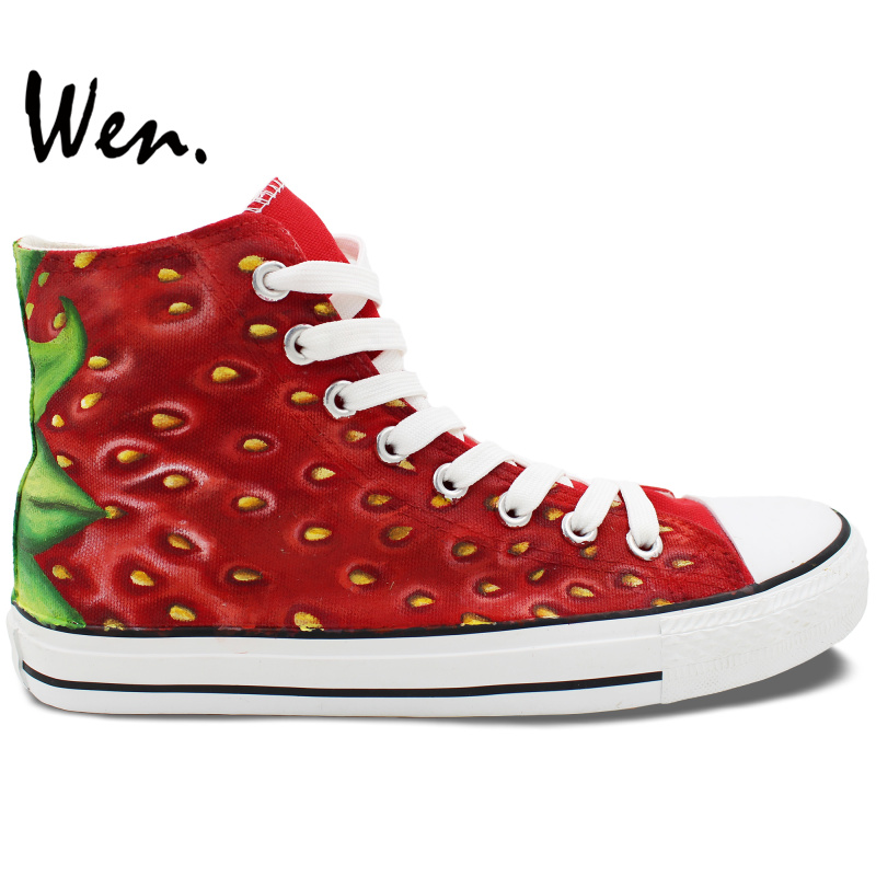 Wen Hand Painted Shoes Design Custom Fruit Strawberry High Top Men Women's Canvas Sneakers Christmas Gifts boys girls converse all star hand painted shoes women men shoes pokemon go charizard design high top canvas sneakers