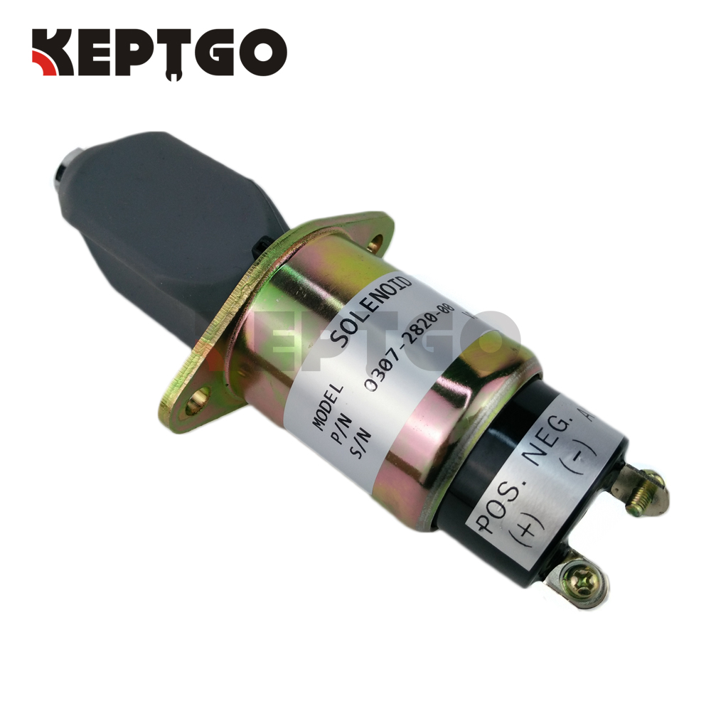 Stop Solenoid  For Cummins Generator 307-2820 0307-2820-00 3072820 12v with 2 terminals 3924450 2001es 12 fuel shutdown solenoid valve for cummins hitachi