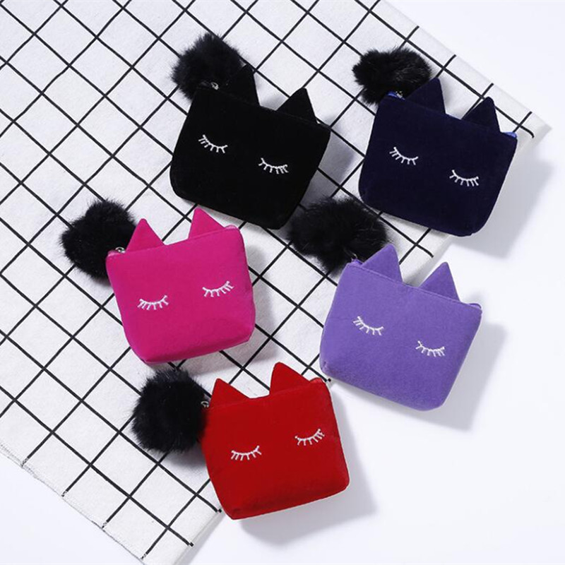 M275 Cartoon Plush Coin Purse Lovely Cat Wool Ball Zero Wallet Card Bag Girl Women Student Gift Wholesale