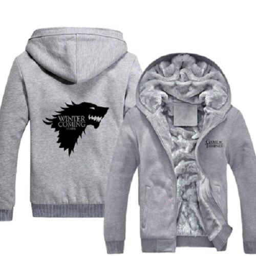 Casual azul Negro Mens Zip Abrigos Logo Fleece Tronos Super plata Es Casa Stark Up Comig Caliente Invierno De Juego Sudaderas d1xTSnU1