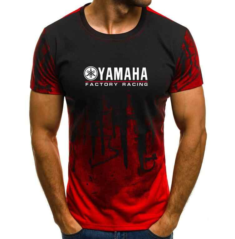 男性の tシャツ男性 yamaha · ファクトリー · プリント Tシャツ夏トップススプラッシュインクプリント男性カジュアル半袖 tシャツ